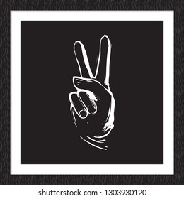 Doodle rock music sign: peace gesture. Hand drawn white vector icon for music band, concert, party. Isolated element on black background in square wood frame.