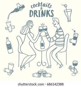 Doodle romantic pair drinking wine. Including set of  hands with drinks and bottles. Hand drawn brush vector cartoon illustration for your design.