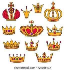 Doodle royal crowns doodle drawn line colorful vector set