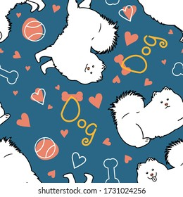 Doodle samoyed dog seamless pattern background. Cartoon dog puppy background. Hand drawn childish vector illustration. Great for kids apparel,fabric, textile, nursery decoration,wrapping paper
