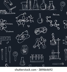 Doodle Science Lab Objects Seamless Pattern. Back to School. Vector illustration. Useful for gift cards, packaging, design and interior decorating.