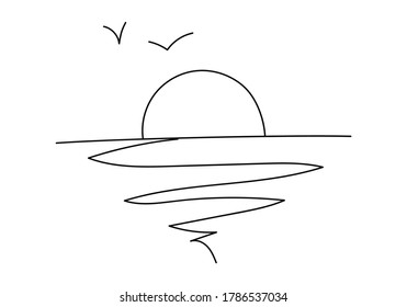 Doodle Sea or ocean landscape. Lineart Sun over the sea, ocean and a flying bird. Dawn or sunset hand drawn in line art style.Vector illustration isolated on white.For print,postcards,posters,book