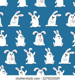 Doodle seamless cute bunny pattern