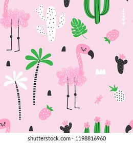 Doodle seamless decorative pattern with flamingo, cacti and palm trees on a pink background. Vector illustration of a funny summer pattern.