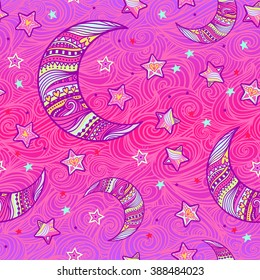 Doodle seamless night pattern background with stars and crescent moon in hand-drawn zentangle style