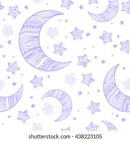 Doodle seamless night pattern background with stars and crescent moon in hand-drawn zentangle style. Vector dream illustration.