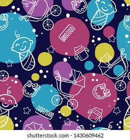 Doodle seamless pattern baby set with cartoon elements. Vector illustration design thin line doodle style.
