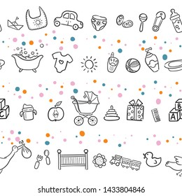 Doodle seamless pattern baby set with cartoon elements. Vector illustration design thin line doodle cartoon style for design on paper, fabric, invitations, other.