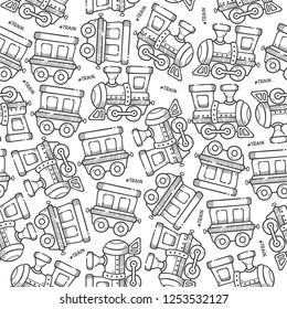Doodle Seamless Pattern Cute Train Locomotive Cartoon