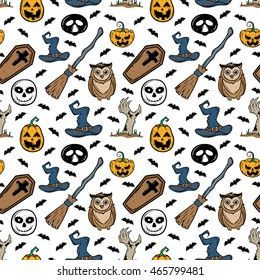 Doodle seamless pattern of halloween elements with owl, witch hat, broomstick, pumpkin and bat