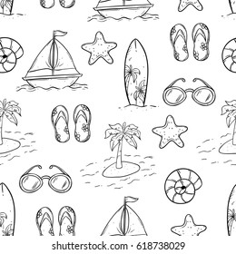 doodle seamless pattern of summer icons