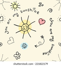 Doodle seamless pattern with sun and hearts
