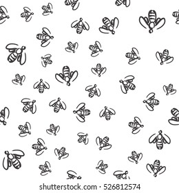 Doodle seamless pattern - swarm of bees. Vector background for design