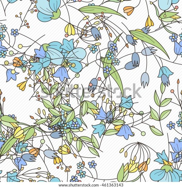 Doodle seamless pattern with various doodle flowers, leaves and branches. Simple floral ornament.