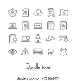 Doodle Security Icons. Hand Drawn Icon Set.
