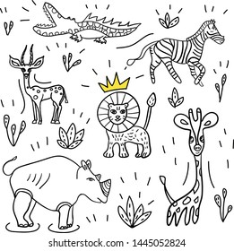 Doodle set of African animals. Cute vector collection for children goods or coloring book. Lion, giraffe, rhino, zebra, gazelle and crocodile
