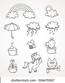 doodle set autumn rain vector