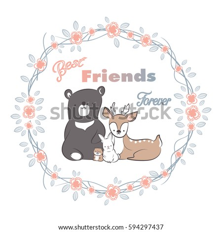Doodle Set Best Friends Forever Cute Stock Vector Royalty Free