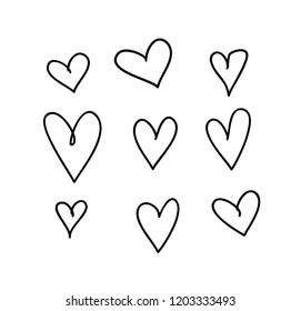 Doodle set of black pencil drawing objects on white background. Hand drawn abstract illustration grunge elements. Vector abstract hearts for design use.