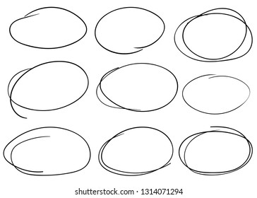 Doodle set of black pencil drawing objects. Hand drawn abstract illustration grunge elements. Vector abstract ellipses for design use.