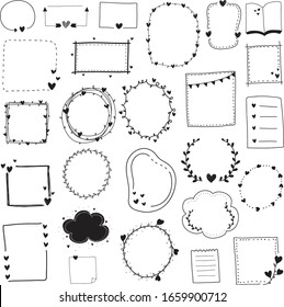 Doodle set black and white line frame and border