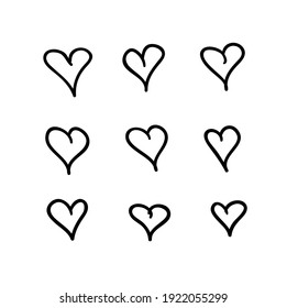 Doodle set of black and white pencil drawing objects. Hand drawn abstract illustration grunge elements. Vector abstract hearts for design
