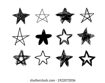 Doodle set of black and white pencil drawing objects. Hand drawn abstract illustration grunge elements. Vector abstract stars for design