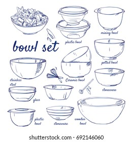 Doodle set of Bowls - plastic, mixing, stainless steel, glass, plastic, stoneware, wooden, potted, ceramic, whisk, fruits, salad, hand-drawn. Vector sketch illustration isolated over white background.