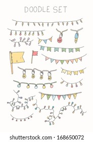 Doodle set - bunting and garlands