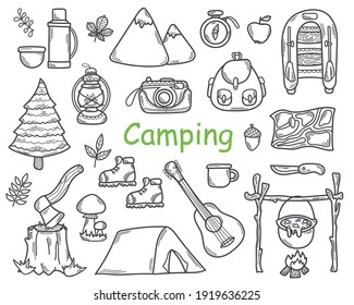 Doodle Set of Camping Elements  and Equipment for Hiking in Sketch style. Hand Drawn Tourism   Tools and Travel Accessories.Line Vector Illustration. Isolated on a white background.
