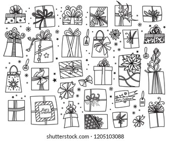 Doodle set of Christmas presents. Hand drawn cartoon gift boxes in various shapes. Vector illustration isolated on white. Design elements collection.