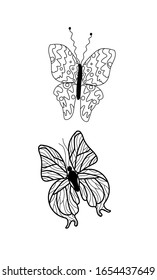 Doodle set for coloring book with cute butterflies and moths for children and adults.Vector stock illustration of black outline insect.