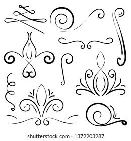 Doodle set of curls border text dividers. Hand drawn abstract text dividers, wedding decor design elements. Hand-drawn with ink and brush vector illustration