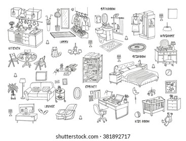 Doodle set of different interior hand drawn sketch, vector illustration. Isolated