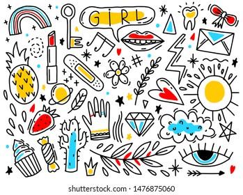Doodle set element girl. Hand drawn style naive.Outline black.Vector illustration