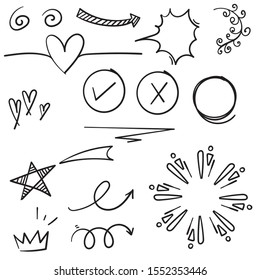 doodle set elements black on white background. Arrow, heart, love, star, leaf, sun, light, flower, daisy, crown, king, queen,Swishes, swoops, emphasis ,swirl, heart.line art style