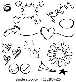 doodle set elements, black on white background. Arrow, heart, love, star, leaf, sun, light, flower, daisy, crown, king, queen,Swishes, swoops, emphasis ,swirl, heart.line art cartoon style vector