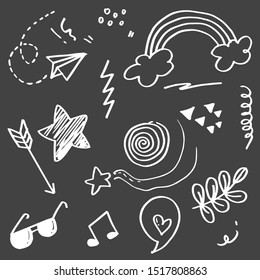 Doodle set elements, whie  on black background. Arrow, heart, love, star, leaf, paper airplanes, glasses, music note, for concept design.