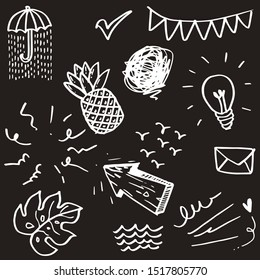 doodle set elements, white on black background. Arrow, leaf, sun, light bulb, Swishes, pineapple, water, Check mark , umbrella, swoops, emphasis ,swirl,  for concept design.