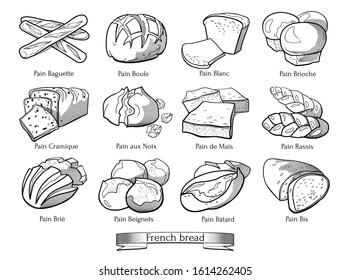 Doodle set of French types of bread. Hand drawn sketch of traditional bakery products. Vector illustration on white background.