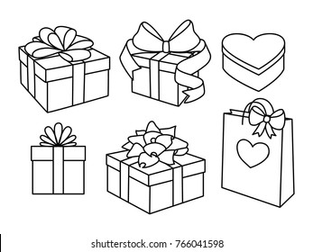 Doodle set of gift boxes with bows, heart shaped box and a gift bag. Hand drawn presents collection. Graphic design elements for advertisement, flyer, poster, web shop sale. Vector illustration