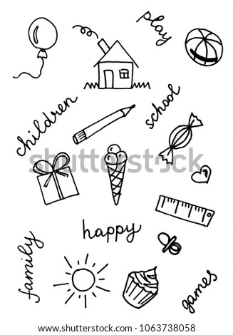 Doodle Set Hand Draw Childs School Stock Vector Royalty Free