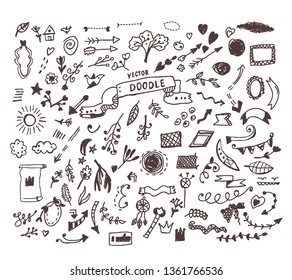Doodle set illlustration, sketchy style. Vector graphic