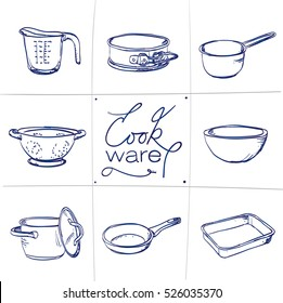 Doodle set of kitchen cook ware - measuring cup, baking tin, casserole, colander, bowl, pan, frying pan, baking dish, hand-drawn. Vector sketch illustration isolated over white background.