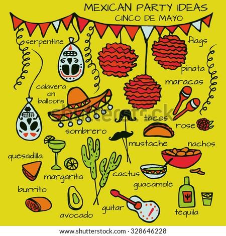 Doodle Set Mexican Party Ideas Cinco Stock Vektorgrafik Lizenzfrei