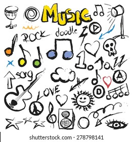 doodle set music background, vector illustration grunge icon
