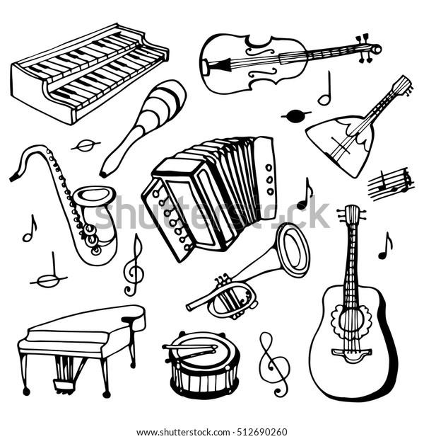 Image Vectorielle De Stock De Instruments De Musique Doodle Set Dessin 512690260