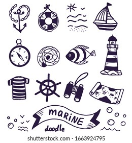 Doodle set of nautical elements for design on the theme of travel, adventure, leisure and sea. Elements of anchor, compass, helm, lighthouse and other hand-drawn items isolated on white background