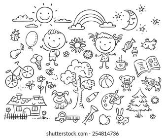 Doodle set of objects from a child's life, black and white outline