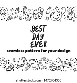 Doodle set of objects from a child's life, sketch outline elements. Sweets, toys, bicycle, rollers, rainbow, sun and other elements  for you design. Seamless pattern background. Vector illustration
